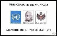 "MONACO YVERT ET TELLIER MINIATURE SHEET 62a "" UNITED NATIONS IMPERF "" MNH VVF P1"