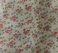 Vintage Small Scale Roses Floral Organdy Batiste Cotton Fabric ~ Pink Blue~dolls