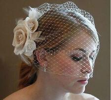 2017 stock Champagne  Flower Fascinator Wedding Bridal Birdcage Face Veil