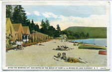 Bathing Beach Tent Camp Woods On Lake Pleasant New York 1930 postcard