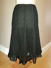 PER UNA @ M&S Black Lace effect skirt fully lined Size 10 - 12 Satin look trim