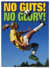 Girls Womens Soccer NO GUTS NO GLORY Inspirational Motivational POSTER