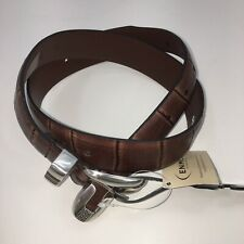 Enmon Belt Brown Western Leather Belt Silver Buckle and Tip Sz 30 NEW