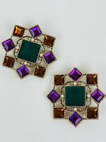 Vintage Haute Couture Large Jewel Pearl Purple Gold Green Hanging Clip Earrings