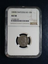 1880B SWITZERLAND TEN RAPPEN NGC AU58 10R Coin PRICED TO SELL NOW!