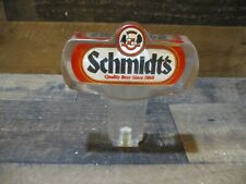 Vintage Schmidt's quality beer bar tap handle knob acrylic clear double sided