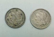 1866 & 1867  3 Cent Nickel pair 2 Decent Collector Coins