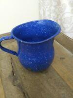 "Vintage Cobalt Blue Enamel Ware Farm Country Creamer Pitcher 5"" Farmhouse decor"