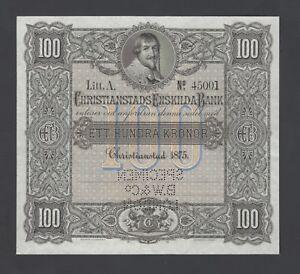 Sweden Christianstads Enskilda Bank 100 kronor 1875 PS133s Specimen UNC