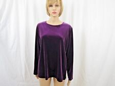 Dialogue Women Blouse Size Large Purple Long Sleeve Velvet