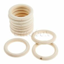 10Pcs Unifinished Natural Blank Round Wooden Hoops Baby Teething Ring Pendant