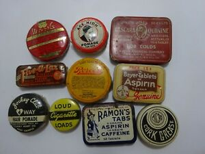 Collection: 10 Different Tins some Memphis TN pomade SAMPLE New Old Stock NO