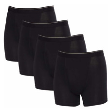 Tagless Mens Underwear Boxer Briefs 2X-Large Black 4 Pack Stretch Fabric Cotton