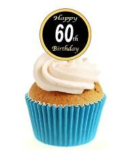 Novelty 60th Birthday Black & Gold 12 Edible Stand Up wafer paper cake toppers