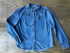 Zara Kid girls blue denim button down shirt top with bow size 9 year