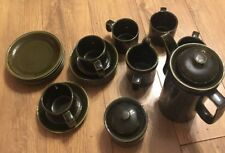 Arthur Wood Vintage 1970s Coffee Set Dark Green 5 Cups