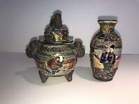 Antique Japanese Satsuma Moriage Vase And Jar With Lid