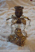 """Candle holder brass and crystal tears, 7"""" tall [10]"""