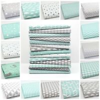 NEW GREY & MINT 100% COTTON FABRIC by the metre CHEVRON TRIANGLE GEOMETRIC dot