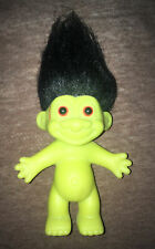"RUSS 5"" BLACK HAIR GREEN FRANKENSTEIN HALLOWEEN TROLL, No Clothing. Naked"