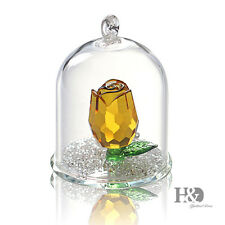 Crystal Glass Hanging Bell Yellow Rose Christmas Decor Ornament Paperweight Gift