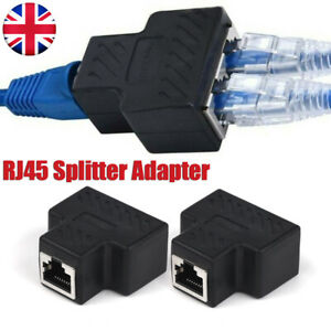 RJ45 Splitter Adapter LAN Network Ethernet Cable 1-2 Way Dual Connector Plug Kit