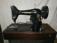 Singer Sewing Machine Spartan Great Britain-Vintage-With Wood Case Working