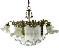 Bohemian Spanish Revival Chandelier straw Prisms 7 Lights Ornate Brass Modernist