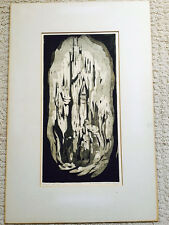 Rare Abstract Wood Cut Imprint Viola Allen Spires/Towers Mid-Century Listed
