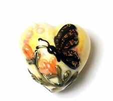 GL00 Premium Lampwork Artist Heart Butterfly Yellow 18x12mm *UK EBAY SHOP*