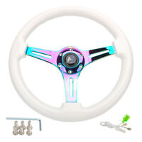"""14"""" Wood White Grain Steering Wheel 6 Bolts 1.75"""" Depth Neo Chrome Spoke Horn"""