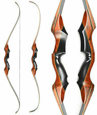 58'' Archery Takedown Recurve Bow Hunting Wooden Longbow Right Hand 50LBS Target