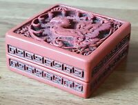 Chinese cinnabar red lacquer vintage Victorian antique dragon box