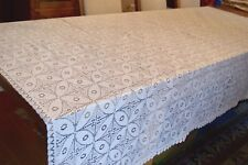 VINTAGE CREAM MACHINE LACE LARGE TABLECLOTH OR DOUBLE BEDSPREAD BEDCOVER #T121