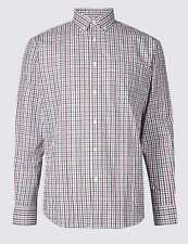 Marks and Spencer Pure Cotton Checked Shirt Size 4XL Brown Check