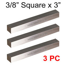 "3 PC HSS Tool Bits 3/8"" Square 3"" Long M2 High Speed Steel Fully Gound"