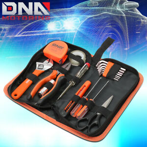 CRAFTSMAN 18 PCS HAND TOOL KIT HAMMER WRENCH SCREWDRIVER MINI LED LIGHT ORANGE