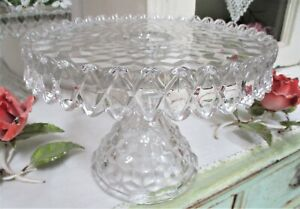 FOSTORIA American Glass Pedestal CAKE PLATE STAND Clear Crystal Round Rum Well