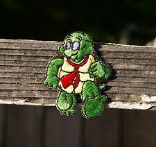 "Green Turtle in Red Tie Running Embroidered Patch 2"" x 1 1/2"""