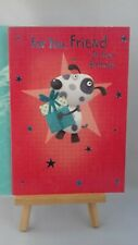 Friend birthday card for men, male, boy, dog with gift, foiled, 20 x 14 cm