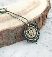 Shree Yantra Macrame Mandala Brass Pendant Jewelry Tribal Bohemian Necklace H6