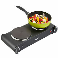 VonShef Hot Plate 2500W Double Electric Cooker Hob Table Top Portable Black