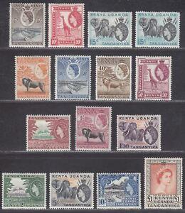 Kenya Uganda and Tanganyika 1954-59 QEII Set Mint SG167-180 cat £140