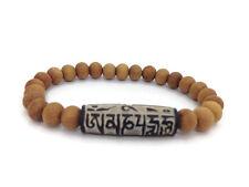 Buddhist Om Mani Padme Hum Stone Carved Sandalwood Beads Stretch Bracelet