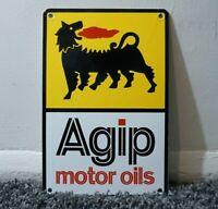 VINTAGE AGIP PORCELAIN METAL SIGN GASOLINE GAS MOTOR OIL RARE STATION PUMP AD