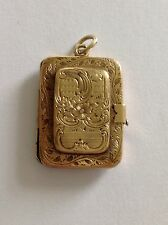 Gold Hinged Rectangular Locket Charming Regency Fine Engraved 9ct