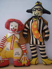 Vintage Ronald McDonald and Hamburglar Character Advertising Cloth Dolls-1970's