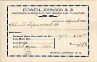 Vtg 1920 Bowen Johnson Grocery, Athens Alabama AL Letterhead Receipt Letter