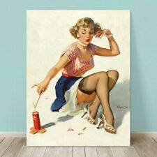 "VINTAGE Pin-up Girl CANVAS PRINT Gil Elvgren  36x24"" Fire Cracker"