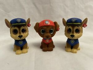 TY Paw Patrol Mini Boos Flocked Collectibles Figure Chase And Marshall Lot Of 3